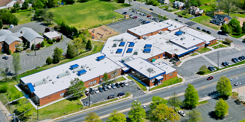 Oblique angle aerial photograph of Franconia Elementary School taken on April 26, 2013 after the most recent renovation of the school was complete.